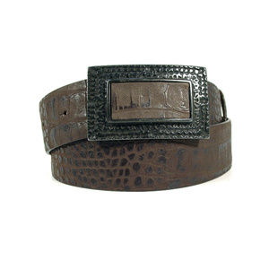 ALBATROS Italian Croc Leather Belt Men's L